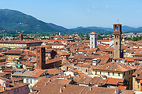 Panoramic roof top view from the Guinigi Tower of the historic centre of  Lucca, Tunscany, Italy
