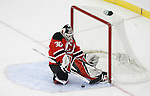 Mar 17, 2009; Newark, NJ, USA; New Jersey Devils goalie Martin Brodeur (30) makes a save during the first period at the Prudential Center.
