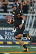 Towson, MD - September 9, 2016: Towson Tigers quarterback Ellis Knudson (8) runs in for a touchdown during game between Towson and St. Francis at Minnegan Field at Johnny Unitas Stadium  in Towson, MD. September 9, 2016.  (Photo by Elliott Brown/Media Images International)