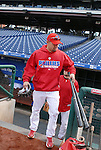 10/17/08 1:17:14 PM -- Philadelphia, PA, U.S.A. -- Philadelphia Phillies Shane Victorino steps out of the dugout before practice October 17, 2008 at Citizen's Bank Park in Philadelphia, Pennsylvania. Victorino showed the team that cast him aside that it made a costly error. The Philadelphia outfielder, who spent six years in the L.A. Dodgers' farm system, used key hits in pressure situations, including a triple, Game 4 eighth-inning homer and six RBI during the NLCS, to help the Phillies beat the Dodgers and reach their first World Series since 1993. -- ...Photo by William Thomas Cain, Freelance.