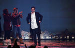 Barrett Doss, Andrew Call and Andy Karl during the Broadway Opening Night Curtain Call Bows for 'Groundhog Day' at August Wilson Theatre on April 17, 2017 in New York City.