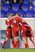 J.T. Murray (23) of the Louisville Cardinals celebrates scoring with teammates. The Louisville Cardinals defeated the Notre Dame Fighting Irish 1-0 during the semi-finals of the Big East Men's Soccer Championship at Red Bull Arena in Harrison, NJ, on November 12, 2010.
