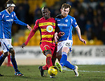 St Johnstone v Partick Thistle&hellip;02.03.16  SPFL McDiarmid Park, Perth<br />Liam Craig is tackled by Mathias Pogba<br />Picture by Graeme Hart.<br />Copyright Perthshire Picture Agency<br />Tel: 01738 623350  Mobile: 07990 594431