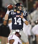 Mississippi quarterback Bo Wallace (14) passes vs. Texas A&amp;M in Oxford, Miss. on Saturday, October 6, 2012. (AP Photo/Oxford Eagle, Bruce Newman)..