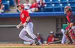 11 March 2013: Washington Nationals outfielder Tyler Moore watches his homer clear the fences during a Spring Training game against the Atlanta Braves at Space Coast Stadium in Viera, Florida. The Braves defeated the Nationals 7-2 in Grapefruit League play. Mandatory Credit: Ed Wolfstein Photo *** RAW (NEF) Image File Available ***