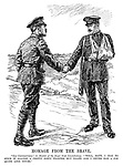"""Homage from the Brave. """"Old Contemptible"""" (to member of the Royal Irish Constabulary). """"Well, mate, I had to stick it against a pretty dirty fighter, but thank God I never had a job quite like yours."""""""