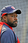 21 June 2008: Washington Nationals' first baseman Dmitri Young looks toward the dugout during batting practice prior to facing the Texas Rangers at Nationals Park in Washington, DC. The Nationals fell to the Rangers 13-3 in the second game of their 3-game inter-league series...Mandatory Photo Credit: Ed Wolfstein Photo