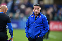 Bath Rugby Head Coach Mike Ford looks on during the pre-match warm-up. West Country Challenge Cup match, between Bath Rugby and Exeter Chiefs on October 10, 2015 at the Recreation Ground in Bath, England. Photo by: Patrick Khachfe / Onside Images