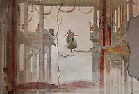 Fresco detail of a garlanded architectural framework from the court of Bacchus, a floating figure with deer and a classical theatre tragey mask, in the Triclinium, probably used for lunches, a large room open to the garden, with walls painted on a white background with figures and plants and ornamental borders and floating figures of the seasons, in the Casa dell Efebo, or House of the Ephebus, Pompeii, Italy. This room is decorated in the Fourth Style of Roman wall painting, 60-79 AD, a complex narrative style. This is a large, sumptuously decorated house probably owned by a rich family, and named after the statue of the Ephebus found here. Pompeii is a Roman town which was destroyed and buried under 4-6 m of volcanic ash in the eruption of Mount Vesuvius in 79 AD. Buildings and artefacts were preserved in the ash and have been excavated and restored. Pompeii is listed as a UNESCO World Heritage Site. Picture by Manuel Cohen