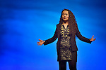 """Poet Vaimoana """"Moana"""" Litia Makakaufaki Niumeitolu of the Mahina Movement performs during an April 26, 2014, worship service at the United Methodist Women's Assembly in the Kentucky International Convention Center in Louisville, Kentucky."""