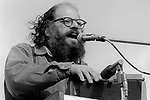 """Allen Ginsberg, April 15, 1970; 2-7-17. War Moritorium, SF Civic Center. American poet who vigorously opposed militarism, materialism and sexual repression. In the 1950s, Ginsberg was a leading figure of the Beat Generation, an anarchic group of young men and women who combined poetry, song, sex, wine and illicit drugs with passionate political ideas that championed personal freedoms. Major literary works of the Beat Generation include the novels """"On The Road"""" by Jack Kerouac and """"Naked Lunch"""" by William S. Burroughs, as well as Ginsberg's epic poem """"Howl"""", in which he celebrates his fellow """"angelheaded hipsters"""" and excoriates what he saw as the destructive forces of capitalism and conformity in the United States."""