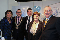 NO FEE PICTURES.25/1/13 Maureen Ledwith, Director Holiday World, Lord Mayor of Dublin is Naoise Ó Muirí and Clare Dunne, President ITAA with Rory McDyer and Pat Dawson, CEO ITAA at the Holiday World Show at the RDS, Dublin. Picture:Arthur Carron/Collins