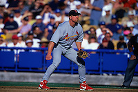 LOS ANGELES, CA - Mark McGwire of the St. Louis Cardinals plays defense at first base during a game against the Los Angeles Dodgers at Dodger Stadium in Los Angeles, California in 2000. Photo by Brad Mangin