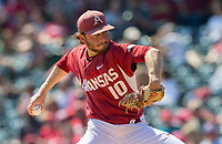 NWA Democrat-Gazette/JASON IVESTER<br /> Arkansas starting pitcher Josh Alberius delivers a pitch Sunday, March 19, 2017, against Mississippi State at Baum Stadium in Fayetteville.