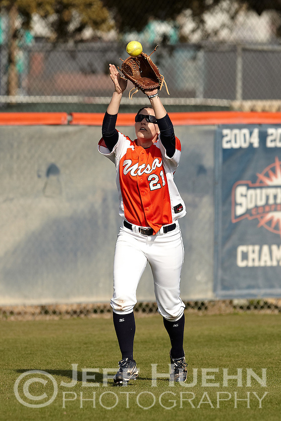 SAN ANTONIO, TX - FEBRUARY 14, 2012: The Texas Southern University Tigers vs. The University of Texas at San Antonio Roadrunners Softball at the UTSA Roadrunner Softball Field. (Photo by Jeff Huehn)