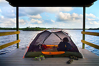 Everglades Paddle, Chickee, Everglades National Park, Hell's Bay Canoe Trail, Pearl Bay Chickee (raised camping platform above water for tents)