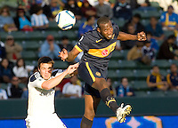 Boca Juniors defender Breyner Bonilla (19) sends a head ball to the goal. The LA Galaxy defeated Boca Juniors 1-0 at Home Depot Center stadium in Carson, California on Sunday May 23, 2010.  .