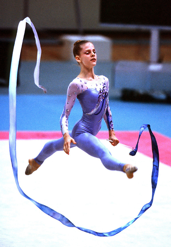 30 SEPTEMBER 1999 - OSAKA, JAPAN: Jessica Howard (USA) performs in ribbon at the rhythmic gymnastics World Championships 1999 in Osaka, Japan.  Jessica placed <br /> 24th in the all-around.