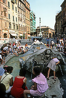 Italy: Rome--Piazza Di Spagna, and Fountain of the Barcaccia by Bernini. Photo '82.