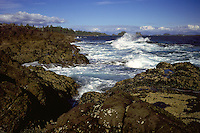 Waves crashing against the Rugged Coastline near Ucluelet, on the West Coast of Vancouver Island, British Columbia, Canada