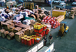 Supplies waiting to be loaded on to a ship, Santa Cruz de Tenerife circa 1975. Tenerife, Canary Islands, Spain