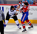 31 January 2009: Montreal Canadiens' left wing forward Max Pacioretty (67) gets into a fight with Los Angeles Kings right wing forward Wayne Simmonds (17) at the Bell Centre in Montreal, Quebec, Canada. The Canadiens defeated the Kings 4-3. ***** Editorial Sales Only ***** Mandatory Photo Credit: Ed Wolfstein Photo