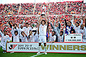 Kashima Antlers team group,..OCTOBER 29, 2011 - Football / Soccer : Yuya Osako (C) of Kashima Antlers holds up the trophy as Kashima Antlers celebrate after winning the 2011 J.League Yamazaki Nabisco Cup final match between Urawa Red Diamonds 0-1 Kashima Antlers at National Stadium in Tokyo, Japan. (Photo by AFLO)