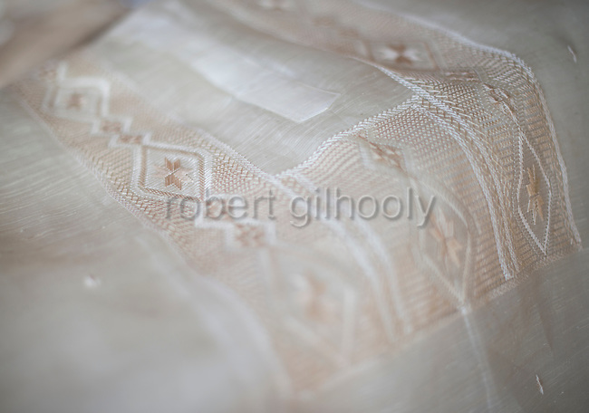 Photo shows a Barong Tagalog shirt inside Cress Lontoc's workshop in Taal, Batangas Province, the Philippines on Feb. 9, 2015. Barong have been a part of Philippine culture for over five centuries.  ROB GILHOOLY PHOTO