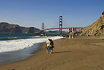 San Francisco: Baker Beach with Golden Gate Bridge in background.  Photo # 2-casanf83424.  Photo copyright Lee Foster