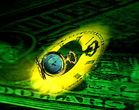 pocket watch dollar bill abstract squander waste dissipate ravage misuse desecrate devastate
