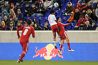 Roy Miller (7) of the New York Red Bulls goes up for a header during the second half of a Major League Soccer match between the New York Red Bulls and the Chicago Fire at Red Bull Arena in Harrison, NJ, on March 27, 2010. The Red Bulls defeated the Fire 1-0.