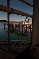 Pier and Mountains, Kodiak Island, Alaska, US