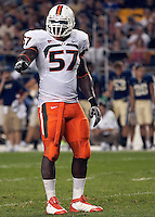 Miami defensive end Allen Bailey.  Miami Hurricanes defeated the Pittsburgh Panthers 31-3 at Heinz Field, Pittsburgh, Pennsylvania on September 23, 2010.