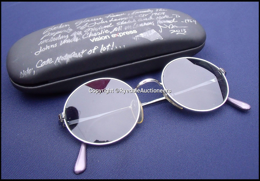 BNPS.co.uk (01202 558833)<br /> Pic: RyedaleAuctioneers/BNPS<br /> <br /> A pair of John Lennon's sunglasses which he stamped on in a fit of rage but his uncle fetched out of a bin and had repaired has emerged for auction.<br /> <br /> The circular, metal framed glasses which Lennon is believed to have owned in the 1970s, post-Beatles, are tipped to sell for &pound;3,500.<br /> <br /> They are accompanied by a fascinating letter from his uncle Charlie Lennon explaining the incident in which they were broken.<br /> <br /> An irate Lennon, according to the letter, stamped on his glasses after an unhappy phone call and chucked them in the bin.