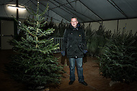 Christmas tree shop. La Richardais, Bretagne France. He was living in new Caledonia and he just arrived to town. His friend could not do the job so he was a remplasant for the season. The place was like a fridge.