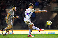 Henry Slade of Exeter Chiefs kicks for the posts. Aviva Premiership match, between Leicester Tigers and Exeter Chiefs on March 3, 2017 at Welford Road in Leicester, England. Photo by: Patrick Khachfe / JMP