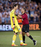 Richardo Salazar, Michael Gspurning. Sporting Kansas City won the Lamar Hunt U.S. Open Cup on penalty kicks after tying the Seattle Sounders in overtime at Livestrong Sporting Park in Kansas City, Kansas.