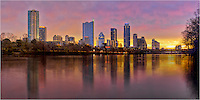 Early on a December morning, Ladybird Lake is cold and calm as the sun rises over the Austin Skyline. This Austin Panorama was taken from Lou Neff Park.