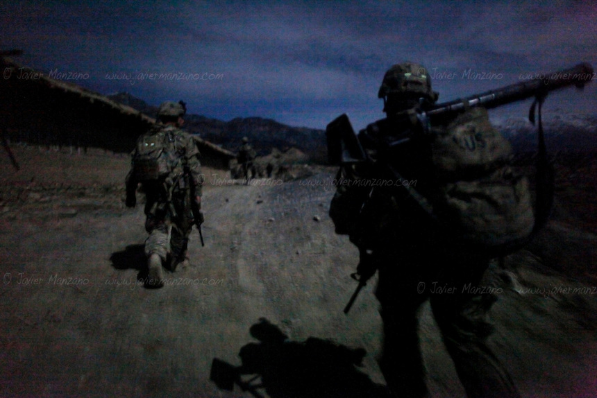 Members of1st Platoon, Chosen Company, 3-509 Infantry Airborne and Afghan Uniformed Police do a night patrol on one of the main suspected smuggling routes in northern Paktiya province. ..On December of 2011 members of 1st Platoon, Chosen Company, 3-509 Infantry Airborne out of Fort Richardson Alaska took over combat outpost Herrera in the Paktiya province of eastern Afghanistan. This combat outpost lies in the Jaji district of Paktiya and is expected to be one of the most volatile areas during 2012 due to its mountainous terrain and proximity to Pakistan's lawless North Waziristan, the  independent tribal area where most of the Haqqani Taliban network is suspected to be based out of. Several smuggling routes run through these mountains and are used by insurgents to transport weapons and explosives materials which are then used to launch attacks on ISF/ANSF and Kabul itself. .