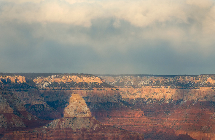The top of Zoroaster Temple from the South Rim. This image was created during a stormy sunset on the Solstice of 2011.
