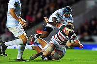 Brendon O'Connor of Leicester Tigers is tackled to ground. European Rugby Champions Cup match, between Leicester Tigers and Racing 92 on October 23, 2016 at Welford Road in Leicester, England. Photo by: Patrick Khachfe / JMP