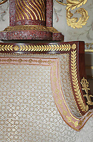 """Detail of bergere, 1806, Jacob-Desmalter, magohany, ormolu, white silk velvet, Turkish Boudoir, redesigned in 1777 for Marie Antoinette, by architect Richard Mique, Chateau de Fontainebleau, France. The decoration is the achievement of the brothers Rousseau, and the furniture dates to the period of the First Empire, with precious textile work done by Jacob-Desmalter for Empress Josephine. Including a small bedroom, mirrors, and curtains raised by pulleys, this exceptional ensemble has been restored in 2014 thanks to the support of INSEAD and the generosity of subscribers of sponsors belonging to the group """"Des Mécènes pour Fontainebleau"""". Its opening to the public is scheduled for Spring 2015. Picture by Manuel Cohen"""
