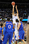 2 APR 2012: Forward Anthony Davis (23) from the University of Kentucky puts up a jump shot during the Championship Game of the 2012 NCAA Men's Division I Basketball Championship Final Four held at the Mercedes-Benz Superdome hosted by Tulane University in New Orleans, LA. Kentucky defeated Kansas 67-59 to claim the championship title. Ryan McKeee/ NCAA Photos.