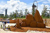 Bob the Builder and his trusted digger Scoop are brought to life in a spectacular giant sand sculpture, 60 tonnes of sand, over 10ft high and 20ft long, to celebrate the start of the summer holidays and the exciting launch of the new Fisher-Price toy line,  at Queen Elizabeth Olympic Park, London, England, July 24, 2016.<br /> CAP/JOR<br /> &copy;JOR/Capital Pictures /MediaPunch ***NORTH AND SOUTH AMERICAS ONLY***
