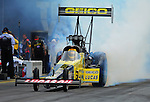 Jun. 19, 2011; Bristol, TN, USA: NHRA top fuel dragster driver Morgan Lucas during eliminations at the Thunder Valley Nationals at Bristol Dragway. Mandatory Credit: Mark J. Rebilas-