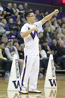 Dec 28, 2015:  Washington cheer member Alan Banh entertained fans during a TV timeout.   Washington defeated UC Santa Barbara 83-78 at Alaska Airlines Arena in Seattle, WA.