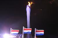 OLYMPICS: SOCHI: Medal Plaza, 11-02-2014, medaille uitreiking, 500m Men, Nederlandse vlaggen, ©foto Martin de Jong