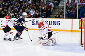Ryan Ellis (Canada - 6), Danny Kristo (USA - 8), Jake Allen (Canada - 1) - Team Canada defeated Team USA 5-4 (SO) on Thursday, December 31, 2009, at the Credit Union Centre in Saskatoon, Saskatchewan, during the 2010 World Juniors tournament.
