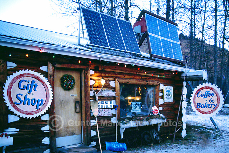 Solar Power Panels at Service Gas Station and Coffee Shop at Tetsa River, along the Alaska Highway, Northern British Columbia, Canada
