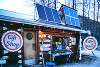 Solar Power Panels at Service Gas Station and Coffee Shop at Tetsa River, along the Alaska Highway, Northern British Columbia, Canada